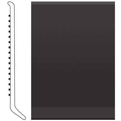 image of Roppe 4 Inch 1/8 Vinyl Cove Base Black Vinyl Flooring