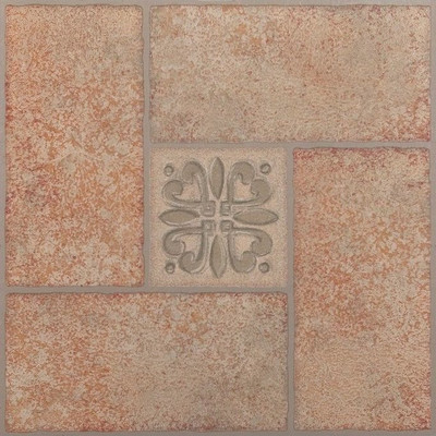 "image of Nexus 12"" x 12"" Vinyl Tile in Beige Terracotta with Motif Center"