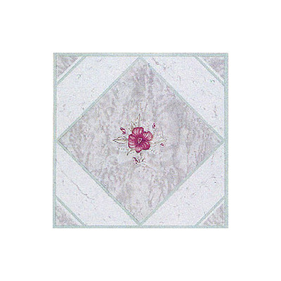 "image of Home Dynamix 12"" x 12"" Vinyl Tile in Light Taupe / Pink Flower"